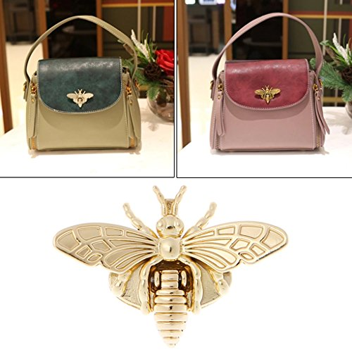Hacloser Turn Lock for Purses Handbag Bee Shape Clasp Decoration Metal Hardware DIY Shoulder Bag Making Tool (Gold)