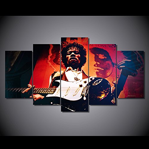 Jimi Hendrix guitarist print poster canvas in 5 pieces