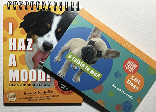 Hilarious Office Dog Lover's Desktop Gift Set - Flip Puppy Dogs Mood Chart and Postcard Book (1 of Each) - Funny Cute Pictures Make Everybody Smile