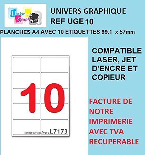 auto entrepreneurs planche de 10 /étiquettes 200 feuilles A4 2000 /étiquettes 99.1 mm x 57 mm TVA D/ÉDUCTIBLE contrairement /à certains vendeurs autocollantes -Marque UNIVERS GRAPHIQUE REF UGE10