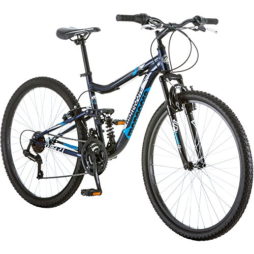 27.5″ Mongoose Ledge 2.1 Men's Bike for a Path, Trail & Mountains, Deep Navy, Aluminum Full Suspension Frame, Twist Shifters Through 21 Speeds