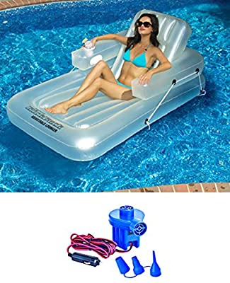 New Swimline 90521 Swimming Pool Inflatable Kickback Lounger + 12 Volt Air Pump