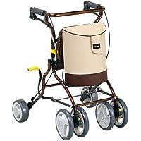 日本【特高步/Tacaof】助力车 买菜车 小型铝合金 调节折叠可坐人 老人购物车椅车 土黄色 T-H002