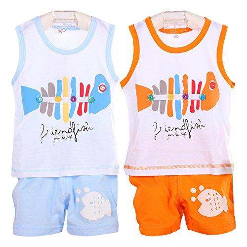 Pack of 2 Sets Hikfly Baby Boys' Girls' Cotton Sleeveless Vest Tops and Shorts Set (18-24 months, Boys (Skull Sock Mask)
