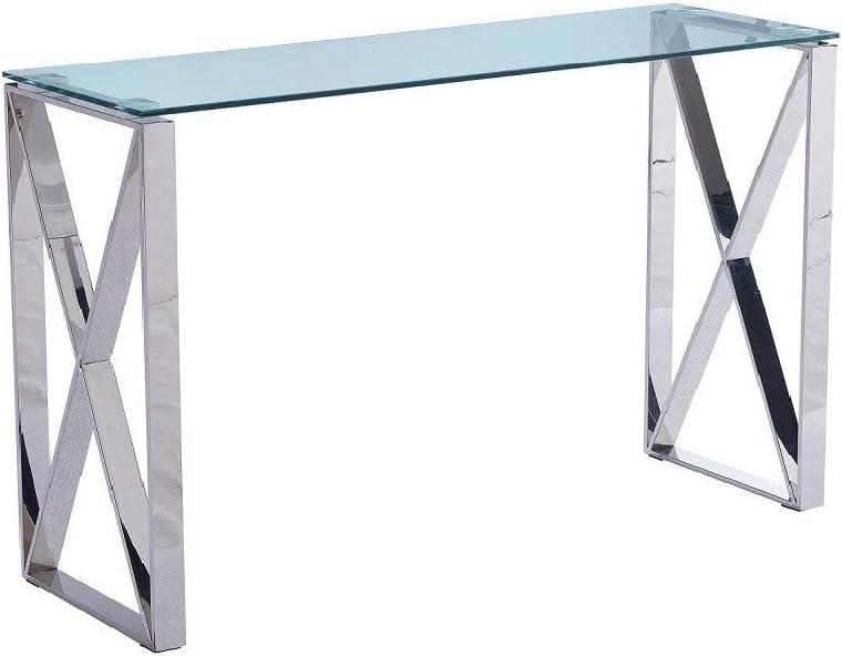 HABITMOBEL Consola Mesa de Acero Inoxidable, Cristal, 120x40 cms