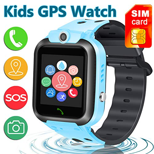 [SIM Card Included] Smart Watch Phone for Kids, IP68 Waterproof Smartwatch with LBS/GPS Tracker Phone SOS Alarm Clock Flashlight Birthday Gift for 3-12 Year Old Boys Girls (Blue)