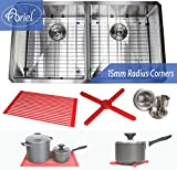 Premium 37 Inch Stainless Steel Super Sized Kitchen Sink Package By Ariel - 16 Gauge Undermount Double Bowl Basin - Complete Sink Pack + Bonus Kitchen Accessories - Ideal For Kitchen Renovation