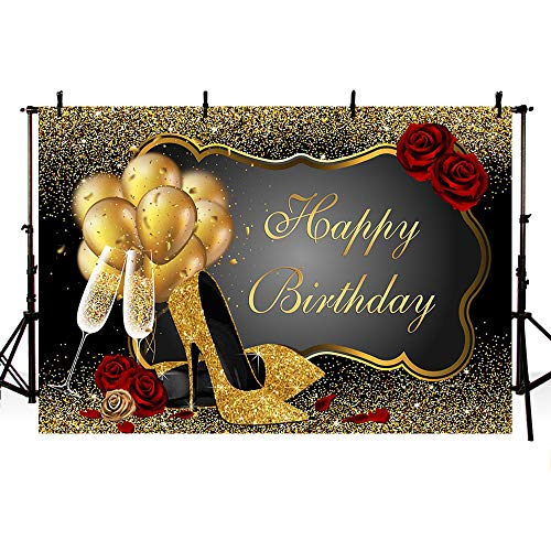 (MEHOFOTO Photo Background Props Shiny Sequin Black Gold High Heels Champagne Adult Woman Red Rose Balloons Happy Birthday Party Banner Backdrops for Photography 8x6ft)