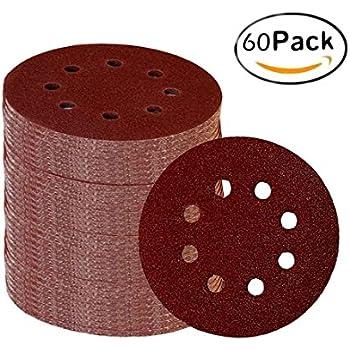 Fadetech 60 Pieces 8 Holes 5 Inch Sanding Discs Hook and Loop 60/100/180/240/320/400 Grit Sandpaper Assortment for Random Orbital Sander