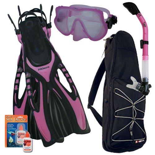 PROMATE Snorkeling Scuba Dive Frameless Mask Fins Dry Snorkel Gear bag Set, Pink, ML/XL(9-13)