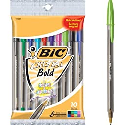 Bic Cristal Xtra-Bold Ball Pens 10 Count Pack, Assorted Ink