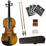 Cecilio-34-CVN-500-Ebony-Fitted-Solid-Wood-Flamed-Violin-with-Antique-Finish