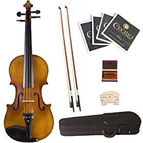 Cecilio 3/4 CVN-500 Ebony Fitted Solid Wood Flamed Violin with Antique Finish 10