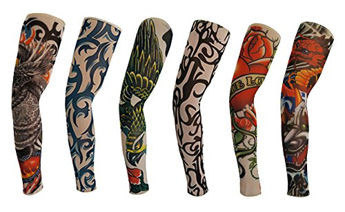 Orilife Fake Tattoo Sleeves Body Art Arm Stockings Accessories H (6pcs)