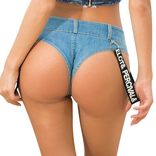 donne Blue pantaloncini pants lettera bassa Nuova estate serratura hot jeans nightclub femminile marea vita sexy 6T7Rfw