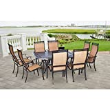 Hanover MANDN9PCSQ Manor 9-Piece Rust-Free Aluminum Outdoor Patio Dining Set with 8 Tan Sling-Back Dining Chairs and Cast-Top Square Table Review