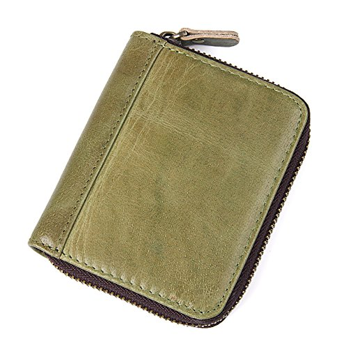 HASFINE RFID Blocking Credit Cards Holder Genuine Leather Compact Accordion Zipper Wallet for Women,Green