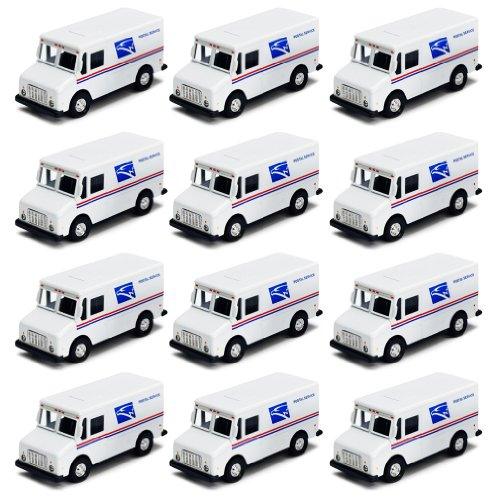 12x USPS Mail Truck Vehicle Die Cast Pull Back Toy Car - Pack of 12 / Box (Postal Mail Truck)