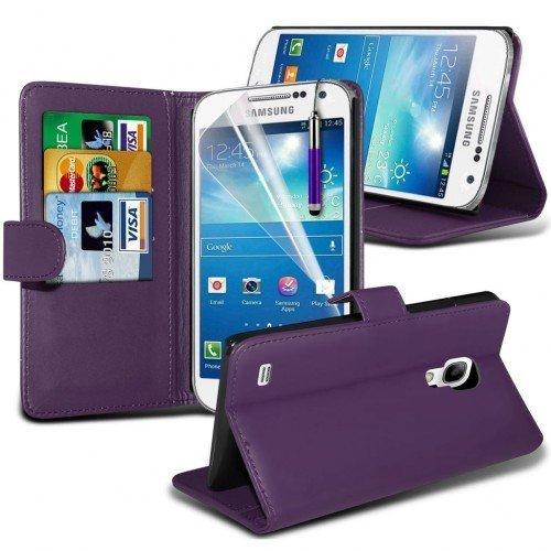 Samsung Galaxy S4 Mini Plus Cubierta del caso con cuero (Púrpura) Plus de regalo libre, Protector de pantalla y un lápiz óptico, Solicitar ahora mejor caja del teléfono Valorado en Amazon! By FinestPh