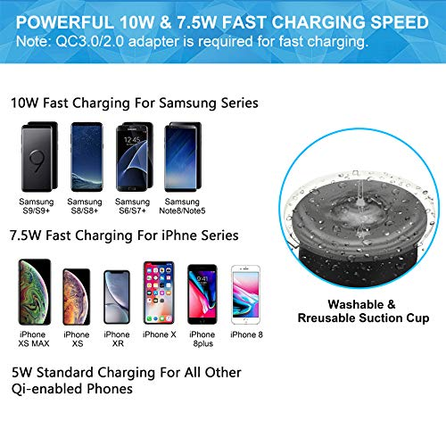 BESTHING 7.5W & 10W Wireless Charger, Dashboard & Windshield Car Mount, Cell Phone Holder, 10W Compatible for Samsung Galaxy S9/S9+/S8/S8+/Note 8, 7.5W Compatible for iPhone Xs Max/Xs/XR/X/ 8/8 Plus by BESTHING (Image #4)