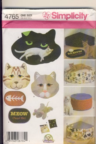Simplicity Sewing Pattern 4765 - Use to Make - Cat Beds and Accessories - Throws, Beds, Place Mat, Catnip Mouse, Pouches ()
