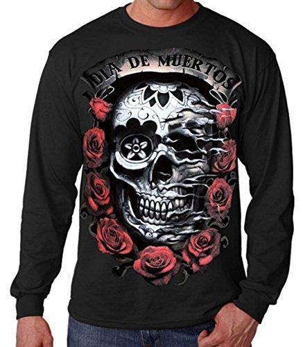 Interstate Apparel Inc Dia De Muertos Men's Long Sleeves T-Shirt Day of The Dead S-2XL Black (2XL, Black) (Day Of The Dead Long Sleeve T Shirts)