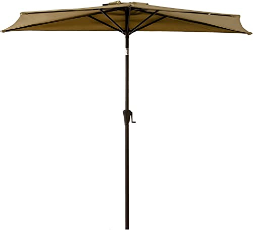 FLAME SHADE 9 ft Half Outdoor Patio Umbrella with Tilt – Beige