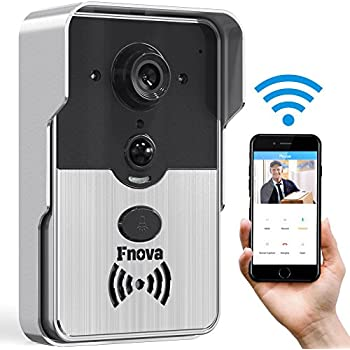 Video Doorbell, Fnova Video Doorbell Camera Wifi 720P HD Camera 2-Way Audio Intercom Doorbell with Infrared Night Vision Real-Time Video and Talk Compatible with IOS and Android, Electronic Doorbell