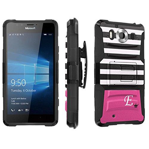 Photo - [SkinGuardz] Case for Microsoft Lumia 950 [Heavy Duty Ultra Armor Tough Case with Holster] - [Black Pink Stripe E Monogram]