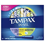 Tampax Pearl Plastic Tampons, Multipack, Light/Regular/Super Absorbency, Unscented, 50 Count