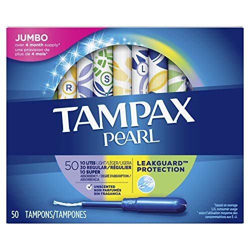 (Tampax Pearl Plastic Tampons, Multipack, Light/Regular/Super Absorbency, Unscented, 50)