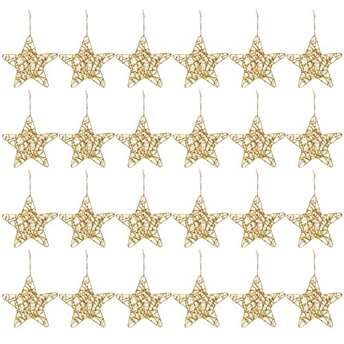 Cheap Juvale 24-Pack of Christmas Tree Decorations – Star Decorations, Christmas Ornaments, Festive Embellishments, Gold – 6 x 1 x 5.7 Inches