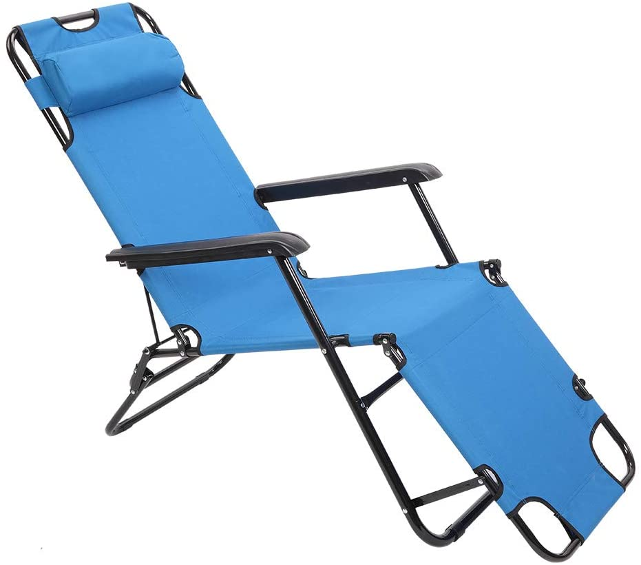 Z ZTDM Portable Zero Gravity Lounge Chair Folding Camping Chair with Pillow for Indoor Outdoor Patio Deck Yard Beach Pool 68 L x 23.6 W x 9 H