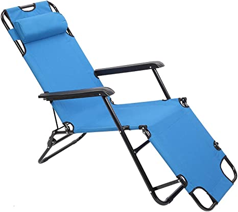 Patio Lounge Chair 4 Position Adjustable Chaise Folding Camping Beach Recliner