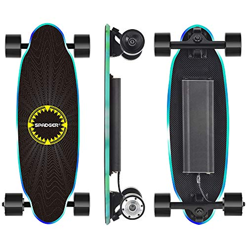- Spadger D5X Electric Skateboard, 20'' Electric Longoard, 12.5MPH Top Speed & 6.5 Miles Range, 150W Motor with 70MM PU Wheel, 10LBS Load up to 220LBS, Built-in LED Light with Remote Control