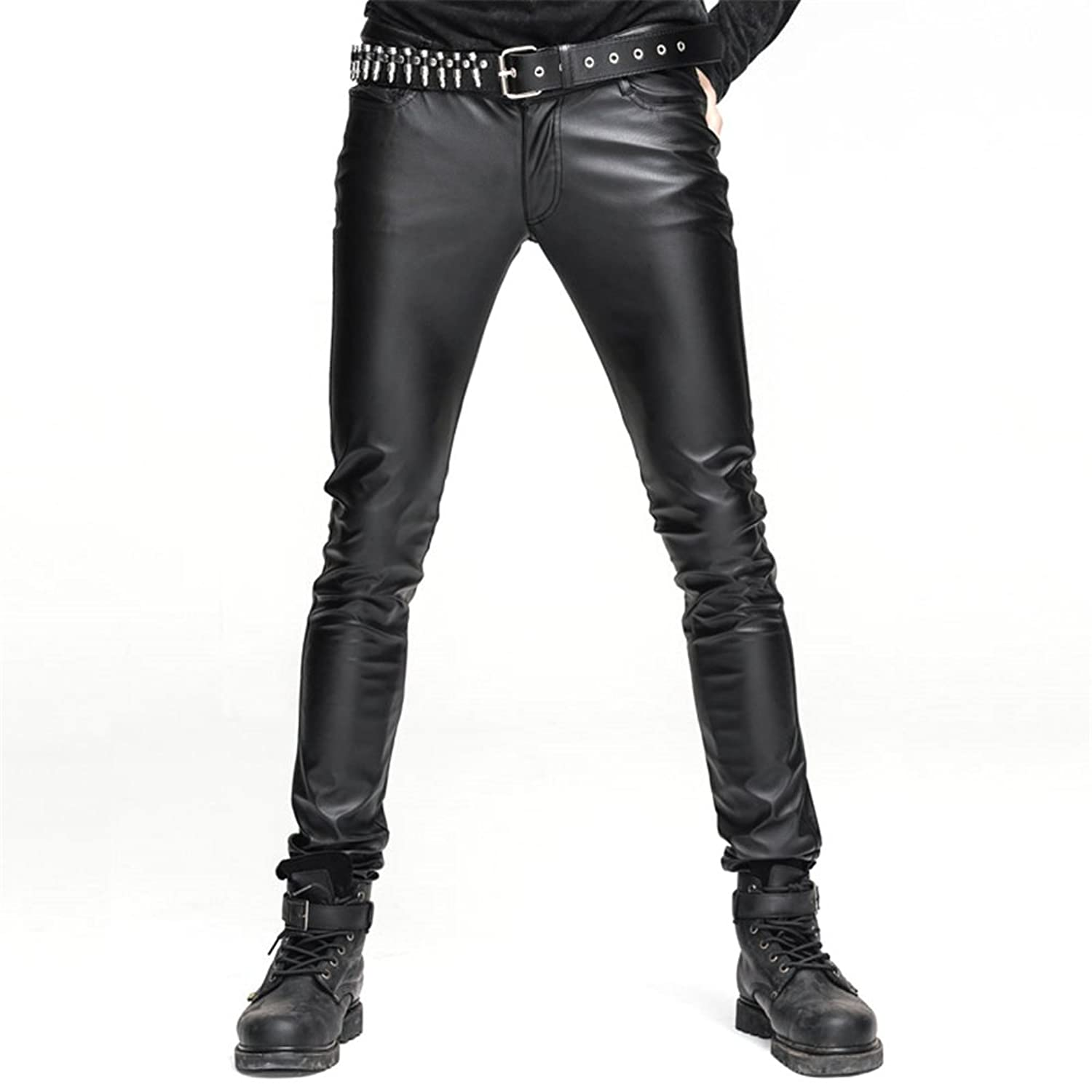Men's Black Stretch Tight Faux Leather Pants