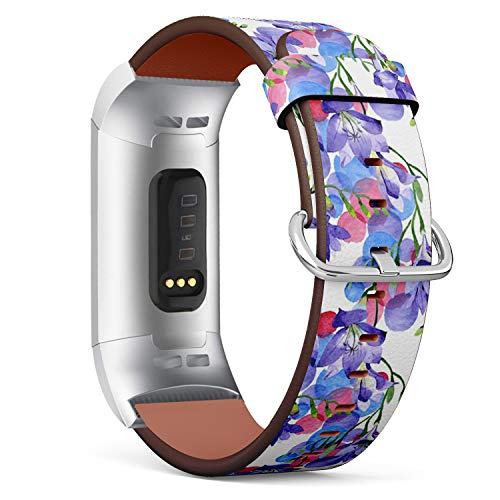 (Compatible with Fitbit Charge 3 & 3 SE - Leather Wristband Bracelet Replacement Accessory Band (Includes Adapters) - Purple Freesia)