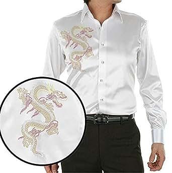 Special Beauty Handsome,Slim NEW fashion design chinese dragon printing men's silk shirt casual men long sleeve summer wedding dress shirt party shirt 1 S Cool