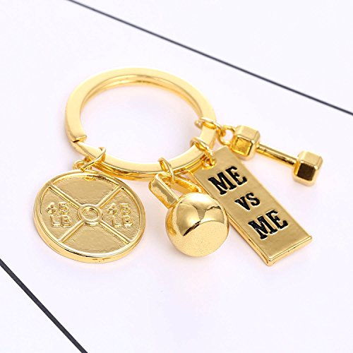 Rinhoo Unisex Fitness Gym Keychain with Quotes Workout Weight Plate Barbell Dumbbell Exercise Charms Keyring White Gold Plated (ME vs ME(Gold))