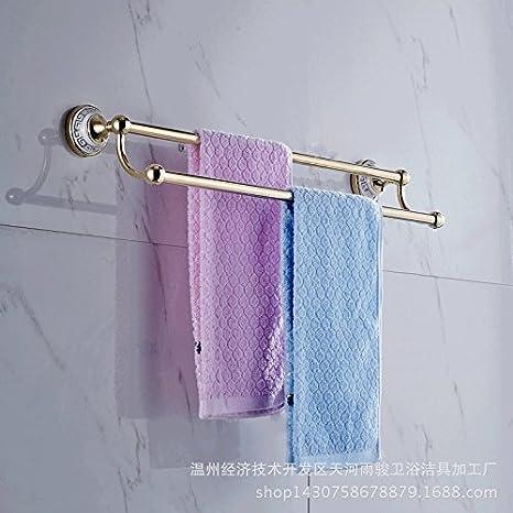 El moderno baño toallas, baño toallas,toallas dorado, azul y blanco porcelana toallero doble,Golden A1: Amazon.es: Hogar