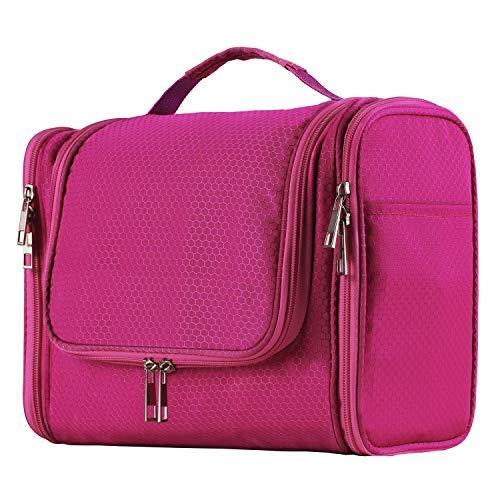 Extra Large Capacity Hanging Toiletry Bag for Men & Women, Portable Waterproof Bathroom Shower Bag, Lightweight Dopp kit Shaving Bag, Sturdy Metal Hook Organizer Makeup Bag (Pink)