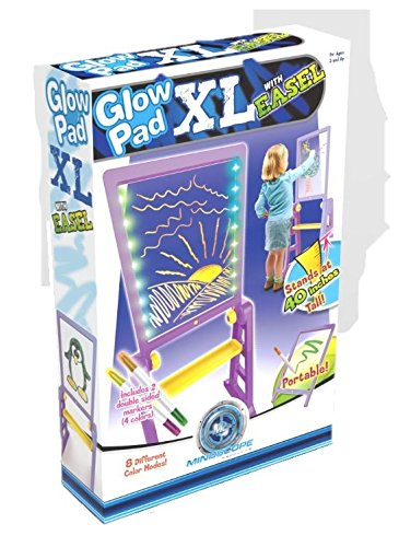 Mindscope Light Up LED Glow Pad XL Drawing Board Animator w/Easel Purple/Yellow with Glow Markers