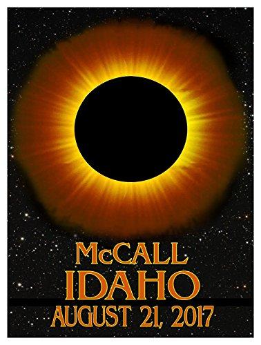 McCall Idaho Solar Eclipse Giclee Travel Art Poster (9 x 12 inch) Art Print for Bedroom, Family Room, Kitchen, Dorm Room or Office Wall - Idaho Falls Mall Teton