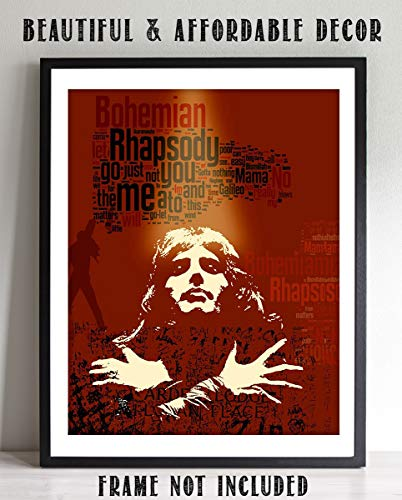 """Freddie Mercury-""""Bohemian Rhapsody"""" Abstract Word Art Print- 8 x 10 Wall Print- Ready To Frame- Queens Classic Song Poster. Home Decor-Studio-Bar-Man Cave Decor. Perfect Gift For All Rock Music Lovers"""