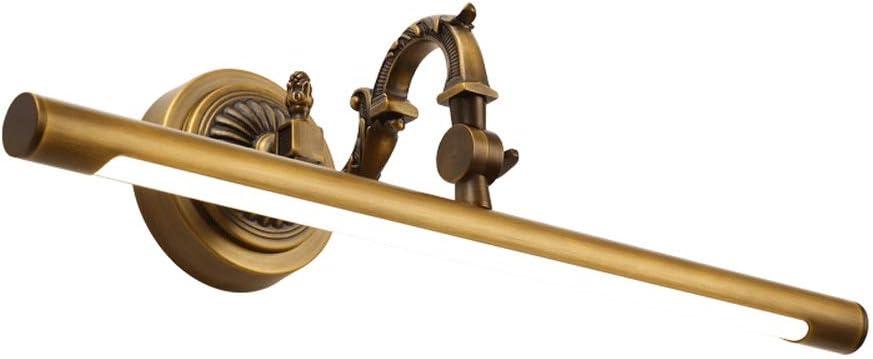 Color : Bronce, Tama/ño : 35cm LZMXJD American Led Lat/ón Espejo Faros Cuarto de ba/ño Cabina de ba/ño Espejo Gabinete L/ámpara Retro Espejo de Cobre Luz Impermeable Antivaho Humedad