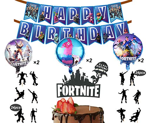 32 Pack Gaming Party Supplies Set,24 pcs Dancing Cupcake Toppers, 3 Foil Balloons,1 Game Happy Birthday Banner Decorations and 1 Birthday Cake Topper for Kids Battle Royale Decorations ()