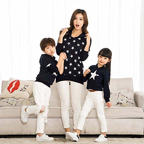 per hibote T Stars con cappuccio shirt Ragazze Uomo famiglie Felpe Ragazzi Long Top Blu Sweatershirt Donna lunga HtrfFwHqR