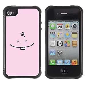 Fuerte Suave TPU GEL Caso Carcasa de Protección Funda para Apple Iphone 4 / 4S / Business Style Tooth Baby Minimalist Drawing Pink Cute