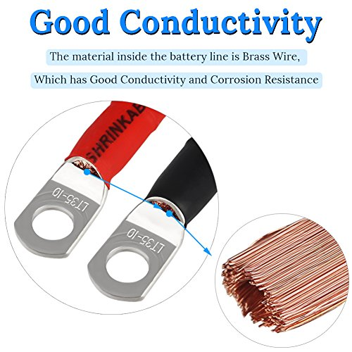 Positive Battery Cable WATERWICH Positive Battery Cable Wire 2 AWG 2-Gauge 20 Inches with 2 hot melt adhesives Pure Copper Perfect Connection for Ship Boat Small Yacht RV Camper Truck Car Vehicle