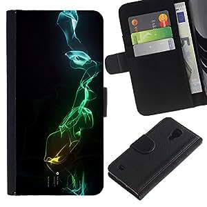 For SAMSUNG Galaxy S4 IV / i9500 / i9515 / i9505G / SGH-i337,S-type® Black Dark Blue Green Abstract - Dibujo PU billetera de cuero Funda Case Caso de la piel de la bolsa protectora